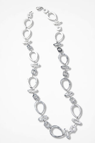 Geo Grand Necklace, Silver, large
