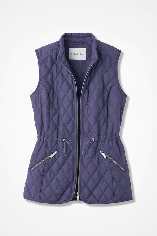 Quilted Drawstring Vest, Deep Thistle, large