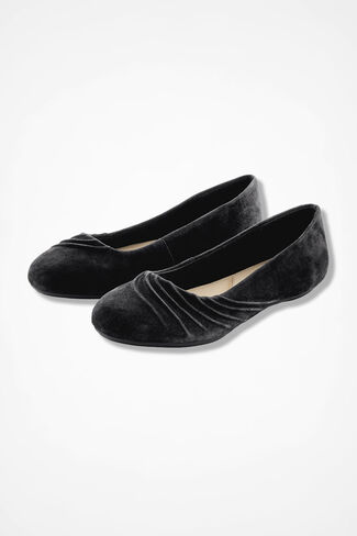 """""""Wayfarer"""" Pleated Suede Flats by Walk With Me™, Black, large"""