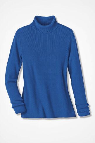 Ribbed Turtleneck Sweater, Cobalt, large