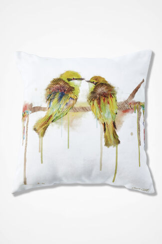 Birds of a Feather Square Pillow, White, large