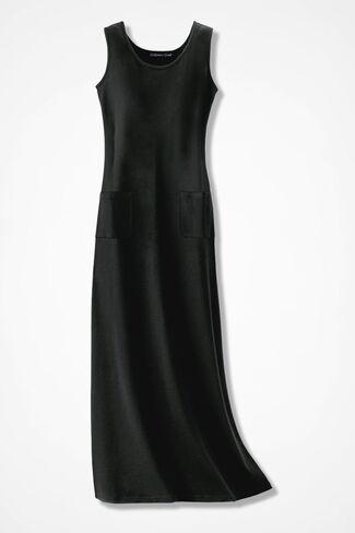 Supima® Long Knit Tank Dress, Black, large