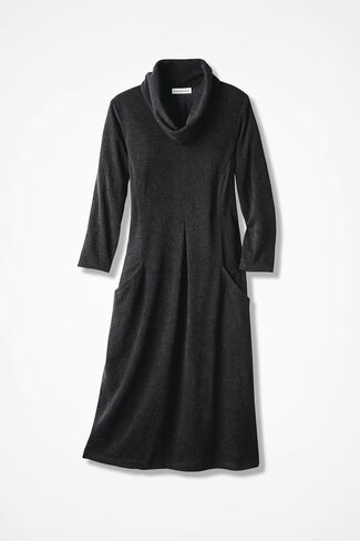Anytime Cowl Neck- Solid Heather, Black, large