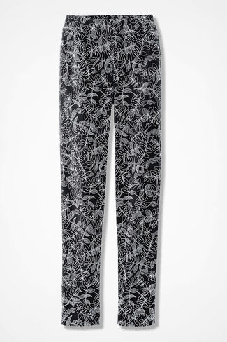 Etched Leaves Pull-On Day-to-Dinner Pants, Black Multi, large