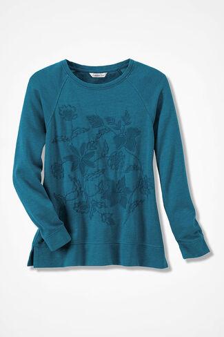 Floral Stitchery Pullover, Mallard Blue, large