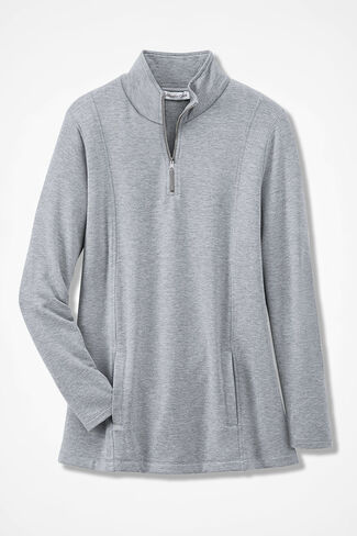 Superbly Soft Fleece Zip-Neck Pullover, Light Heather Grey, large