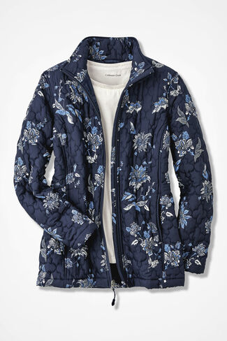 Blooming Quilted Jacket, Navy, large