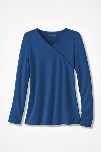 Faux Wrap Essential Solid Supima® Tee, Lapis, large
