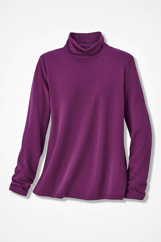 Essential Supima® Stand-Neck Tee, Currant, large