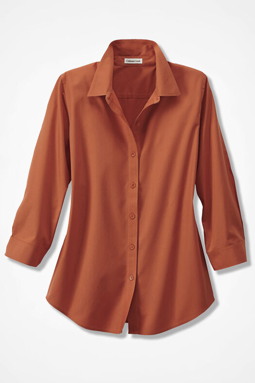 Three-Quarter Sleeve Easy Care Shirt, Light Spice, large