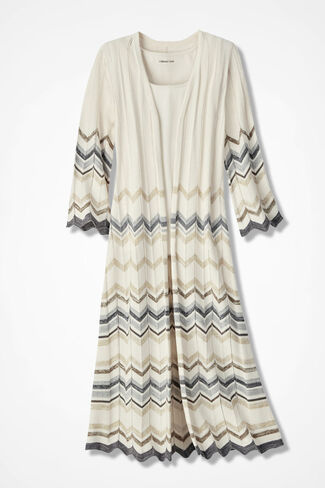 Chevron Pointelle Duster Sweater, Ivory Multi, large