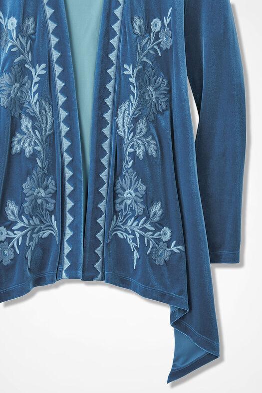 Opulence Embroidered Microvelvet Cardigan, Lapis, large
