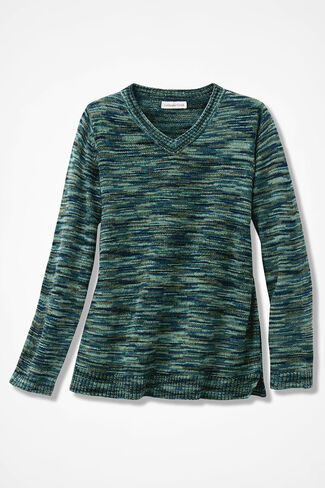 Space-Dyed Chenille Sweater, Green Multi, large