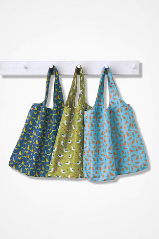 Tuck-Away Reusable Totes, Blue Multi, large