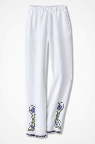 Bellflower Embroidered Linen Pants, White, large