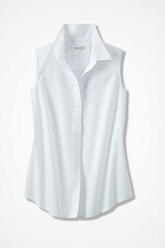 Sleeveless Easy Care Shirt, White, large