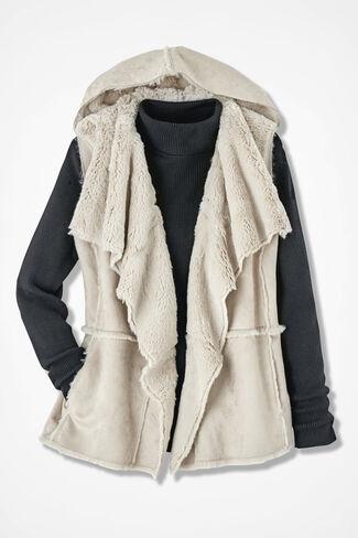 Faux Shearling Hooded Vest, Alabaster, large