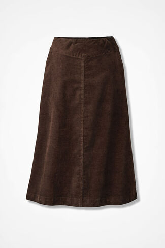 Pull-On Pincord Skirt, Brown, large