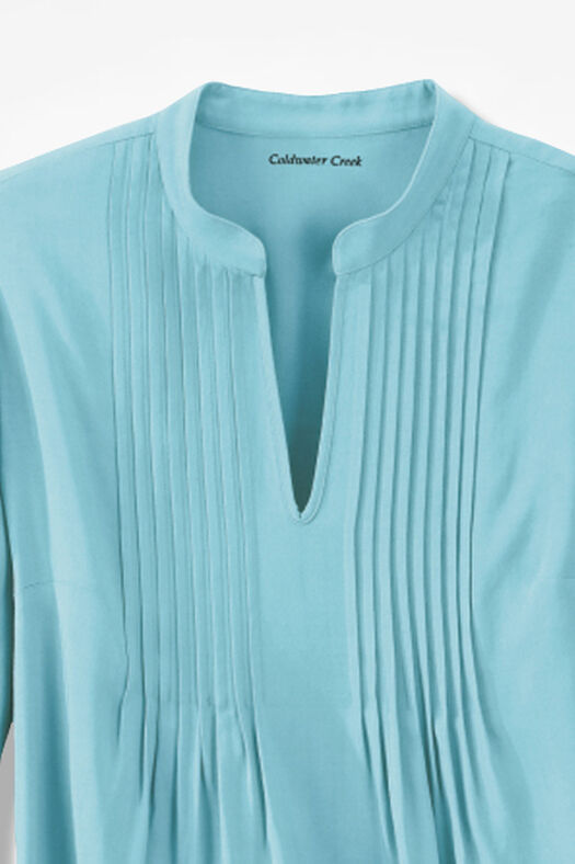 Pleated Popover Tunic, Bright Turquoise, large
