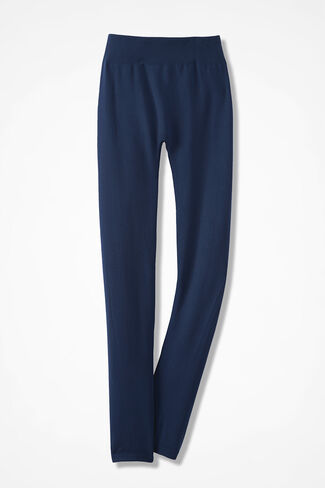 Coldwater Creek® Fleece-Lined Leggings, Navy, large