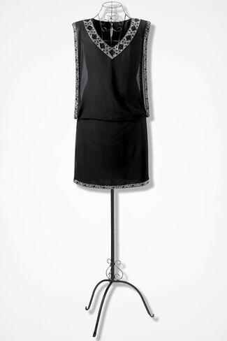 Beaded Blouson Dress, Black, large