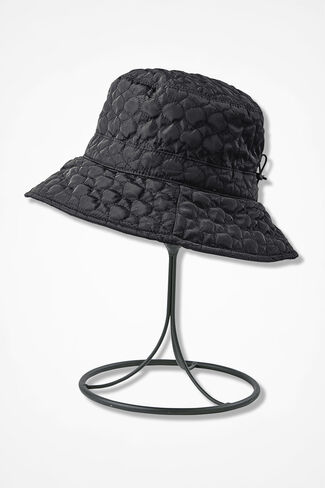 Water Repellent Quilted Hat, Black, large