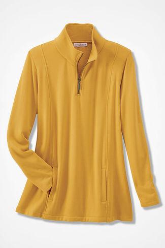 Superbly Soft Fleece Zip-Neck Pullover, Saffron, large