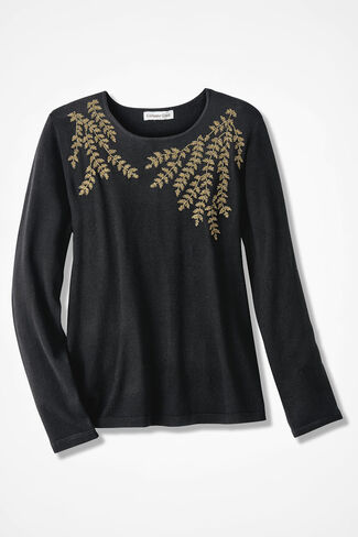 Filigree Embroidered Sweater, Black, large