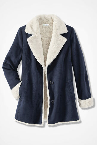Faux Suede Plush-Lined Coat, Navy, large