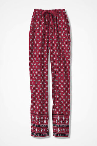 Border Print Flannel PJ Pants, Dover Red, large