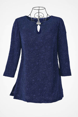Night Lights Textured Tunic by Alex Evenings, Dark Sapphire, large