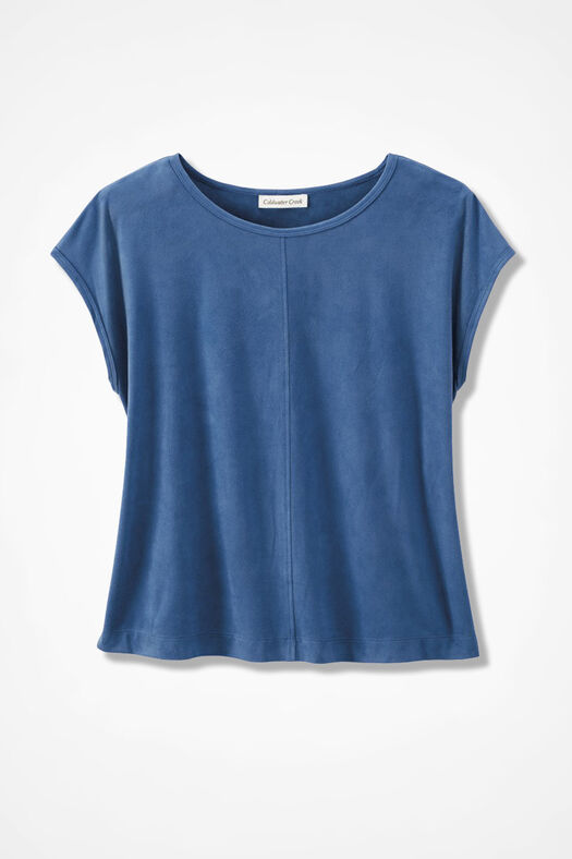 Suede-Touch Stretch Tee, Lake Blue, large