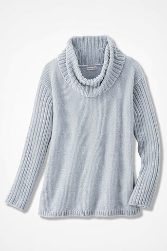 Rib-Sleeve Chenille Pullover, Dove Grey, large