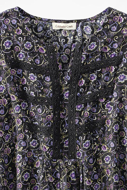 Millefleurs Crochet-Trim Tunic, Black Multi, large