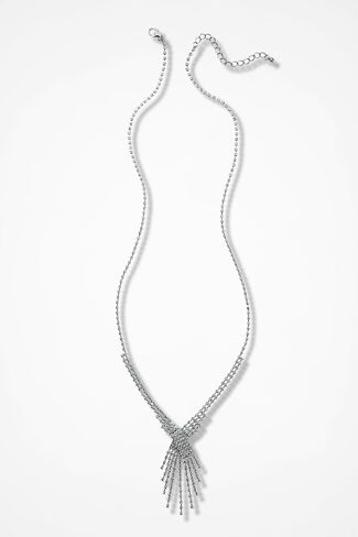 Crystal Dance Necklace, Silver, large