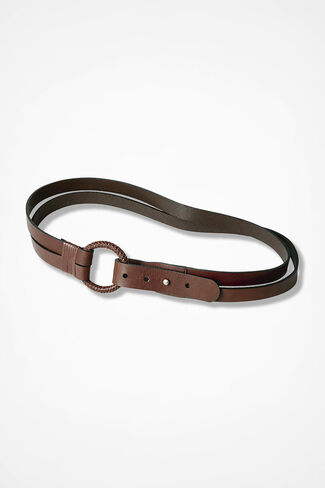Spirit Double-Strap Leather Belt, Brown, large