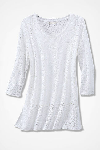 Fine Filigree Openwork Tunic, White, large