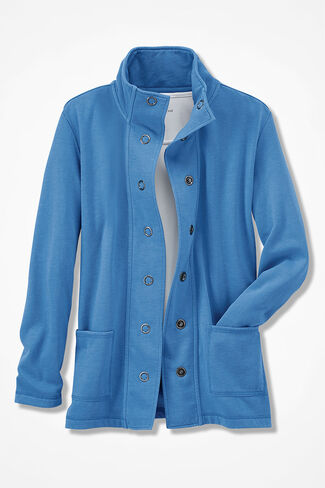 NEW! Colorwashed Fleece Snap Cardigan, Tahoe Blue, large