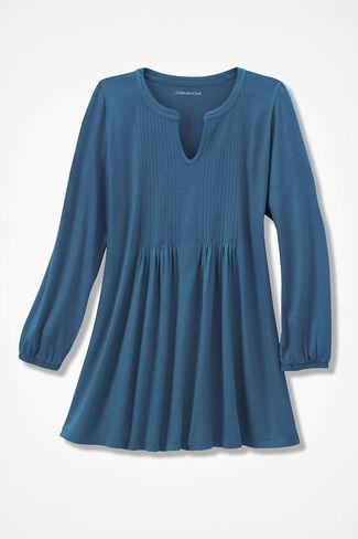 NEW! Pintuck Knit Tunic, Aspen Blue, large