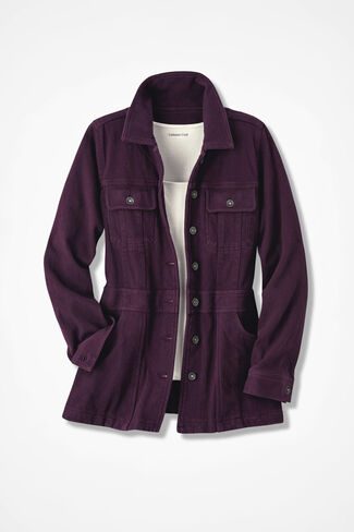 Urban Trails Knit Denim Jacket, Blackberry, large