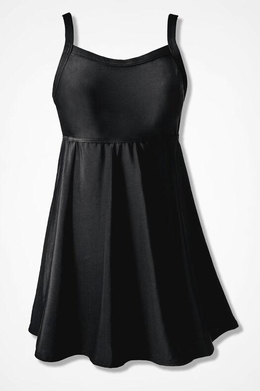 ShapeMe Solid Swimdress, Black, large