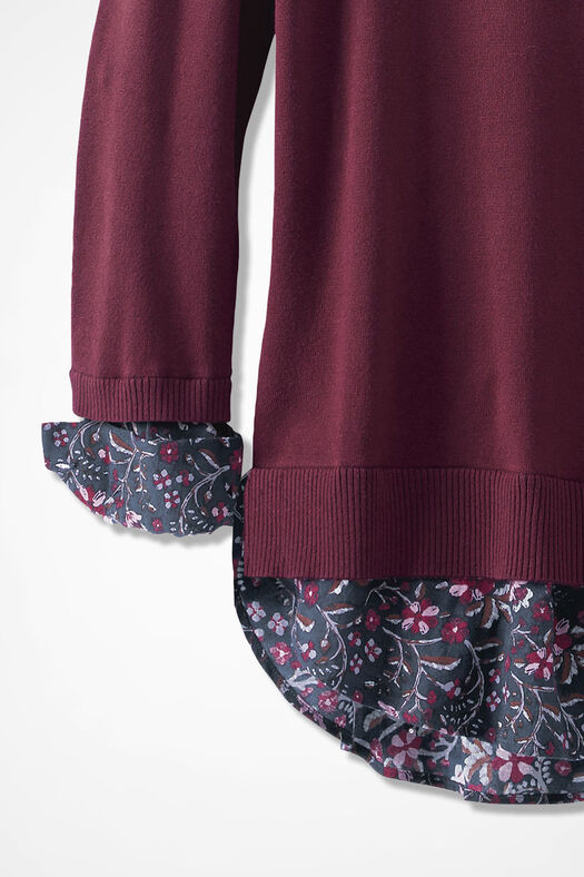 Glimpse of Floral Sweater, Wine, large