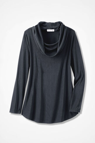 Destinations II Cowlneck Top, Black, large