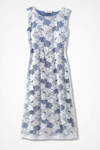 Blossoming Lace Overlay Dress, River Blue, large