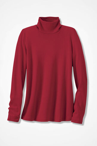Essential Supima® Stand-Neck Tee, Dover Red, large