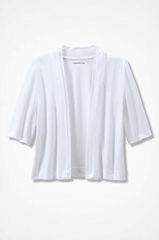 Double Border Jersey Shrug, White, large