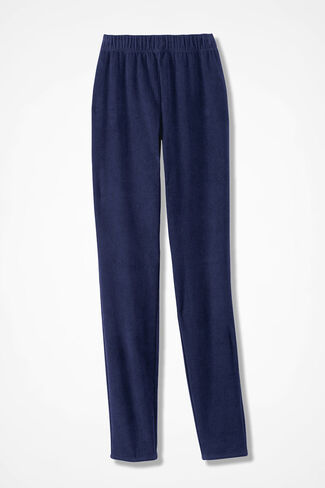 Knit Corduroy Leggings, Navy, large