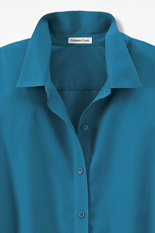 Three-Quarter Sleeve Easy Care Shirt, Mallard Blue, large