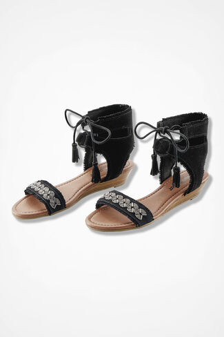 """Portofino"" Suede Sandals by Minnetonka®, Black, large"