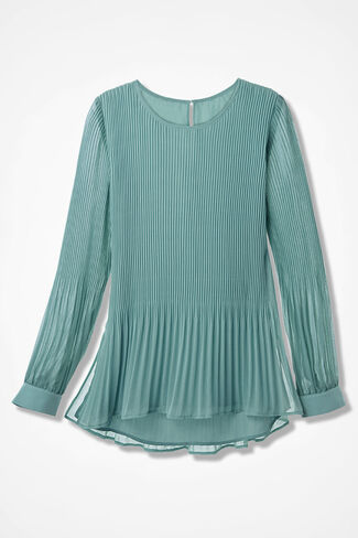 Elysium Pleated Chiffon Blouse, Aqua, large